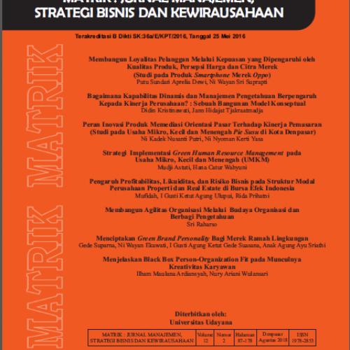 MATRIK: Jurnal Manajemen, Strategi Bisnis dan Kewirausahaan