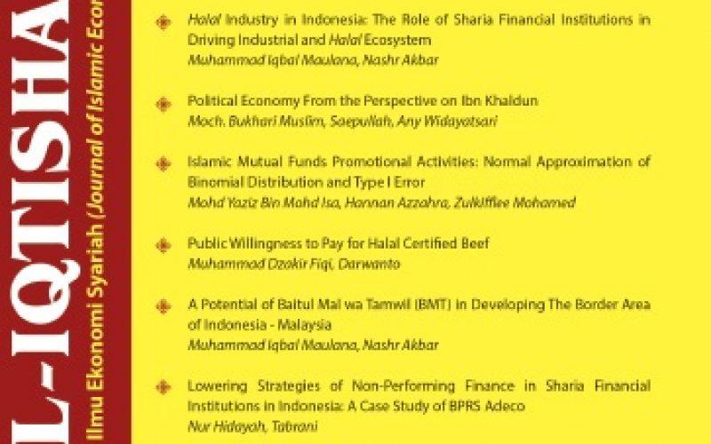 AL-IQTISHAD: JURNAL ILMU EKONOMI SYARIAH (JOURNAL OF ISLAMIC ECONOMICS)